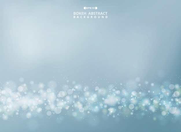 Abstract of merry gold - silver bokeh glitters on soft sky background. vector eps10