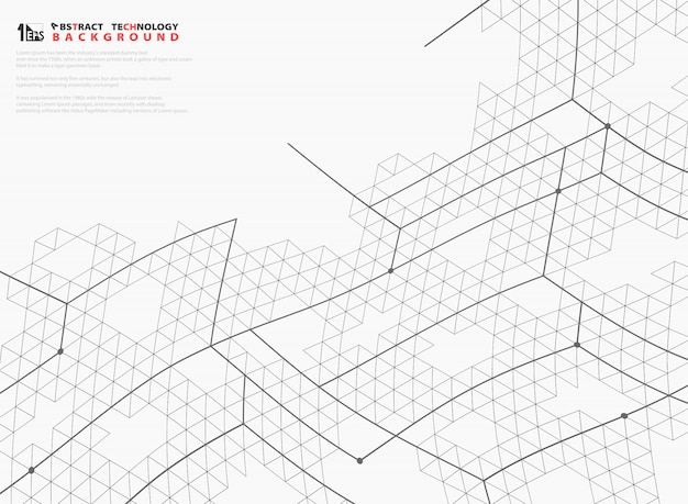 Abstract mesh hexagon lines structure tech decoration cover.