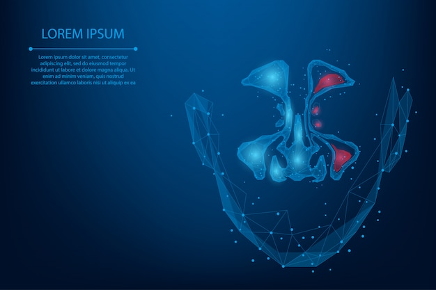 Abstract mesh line and point sinusitis. low poly healthy and inflammation nasal sinus