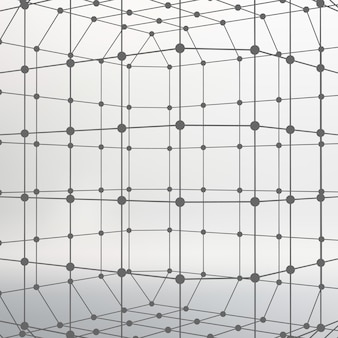 Abstract  mesh polygonal background of lines and dots molecular lattice