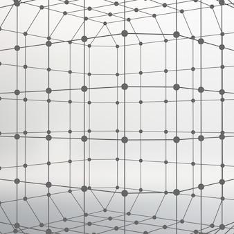 Абстрактный фон многоугольной сетки линий и точек молекулярной решетки