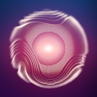 被写界深度効果のある暗い背景上の抽象的なメッシュ球。