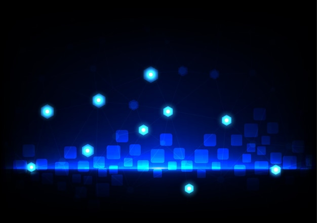 Abstract mesh with rectangle and hexagon on blue background