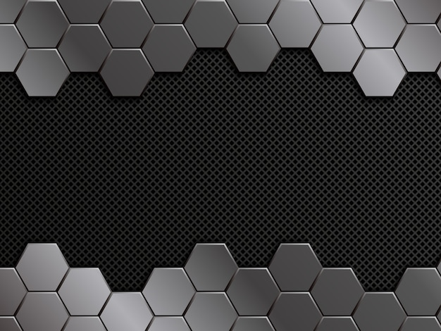 Abstract metal background. geometric background with hexagons.   design template