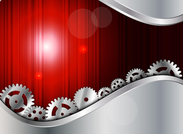 Abstract metal background with gear vector illustration eps10