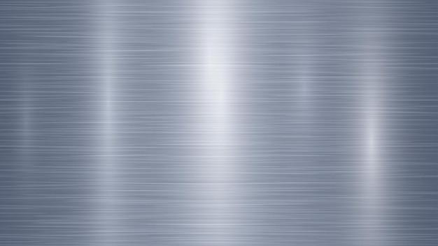 밝은 파란색 색상의 섬광과 추상 금속 배경