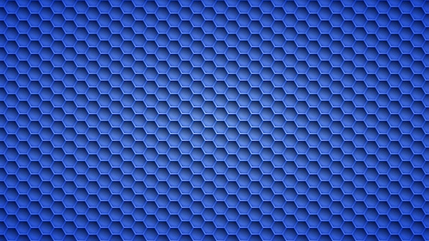 Abstract metal background with hexagonal holes in blue colors
