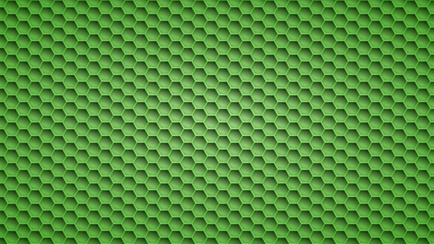 Abstract metal background with hexagonal holes in green colors