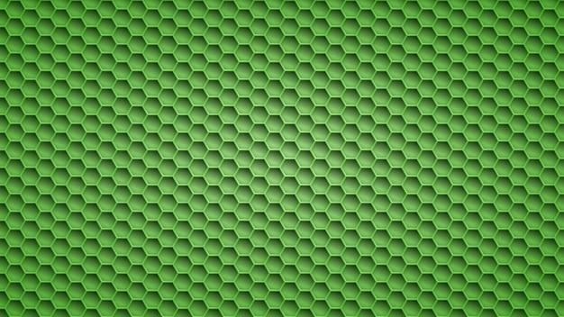 녹색 색상의 육각형 구멍이 있는 추상 금속 배경