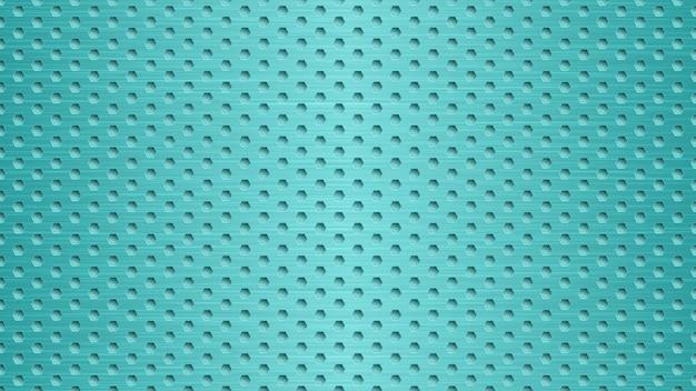 밝은 파란색 색상의 육각형 구멍이 있는 추상 금속 배경