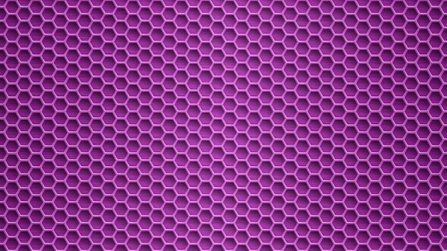 보라색 색상의 육각형 구멍이 있는 추상 금속 배경