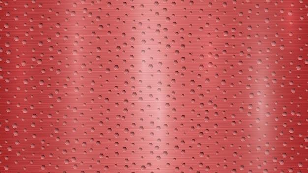 붉은 색의 육각형 구멍이 있는 추상 금속 배경