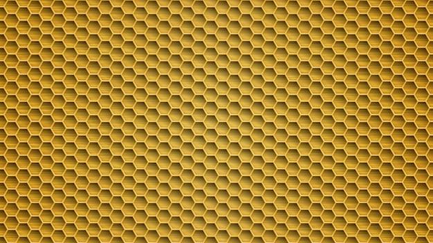 노란색 색상의 육각형 구멍이 있는 추상 금속 배경