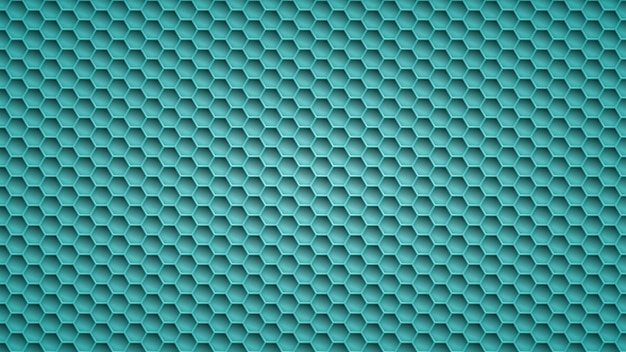 Abstract metal background with hexagonal holes in light blue colors