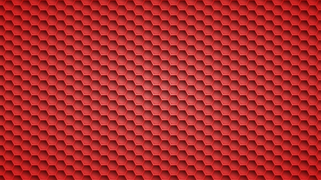 Abstract metal background with hexagonal holes in red colors