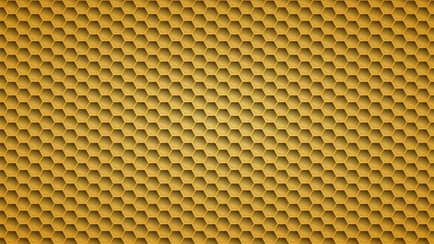 Abstract metal background with hexagonal holes in yellow colors