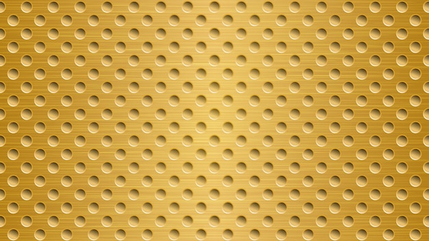 Abstract metal background with holes in bright golden colors