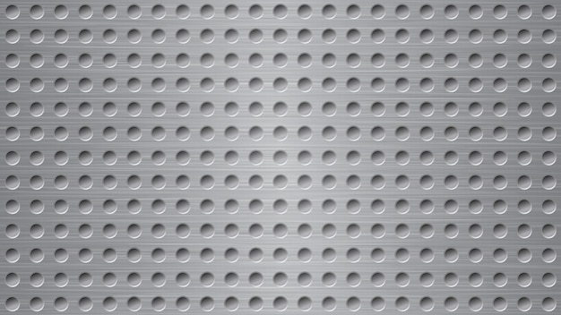 Abstract metal background with holes in gray colors