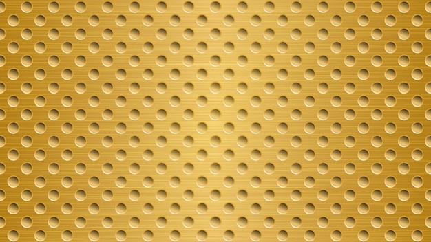 明るい金色の穴と抽象的な金属の背景