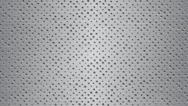 회색 색상에 구멍이 있는 추상 금속 배경