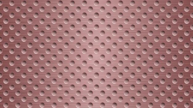 薄い赤い色の穴を持つ抽象的な金属の背景