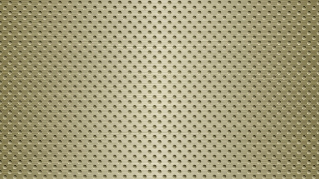 Abstract metal background with holes in light golden colors