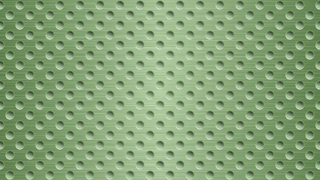 Abstract metal background with holes in light green colors