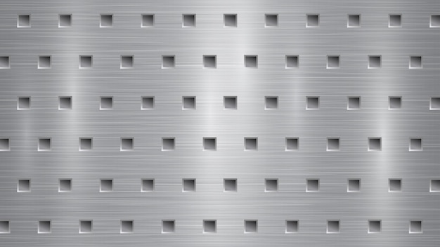 Абстрактный металлический фон с квадратными отверстиями в серых тонах