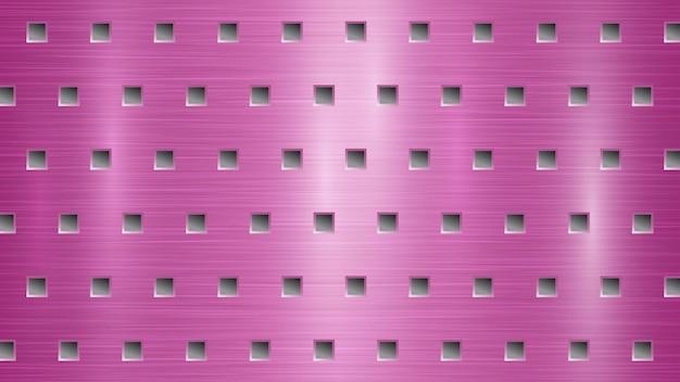 Абстрактный металлический фон с квадратными отверстиями в розовых и серых тонах
