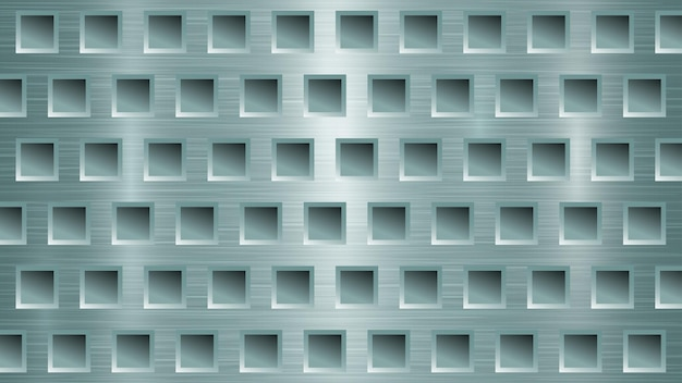 Abstract metal background with square holes in light blue colors