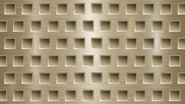 Abstract metal background with square holes in light golden colors