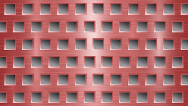 Abstract metal background with square holes in red and gray colors