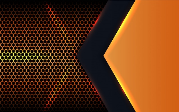 Abstract metal shapes on hexagon background
