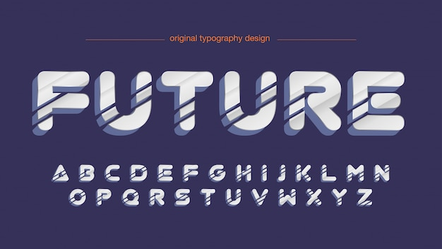 Abstract metallic artistic font