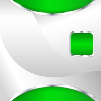Абстрактный металлический фон с зеленым элементом. векторная иллюстрация.