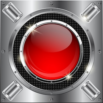 Abstract metallic background with red glass button