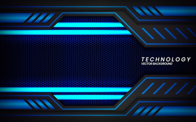 Abstract metallic black blue frame layout modern tech design background