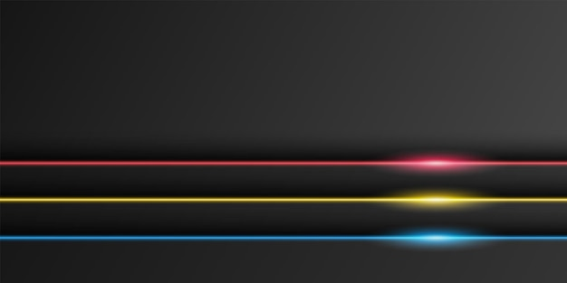 Abstract metallic black frame background overlap layer with neon light line dark minimal design