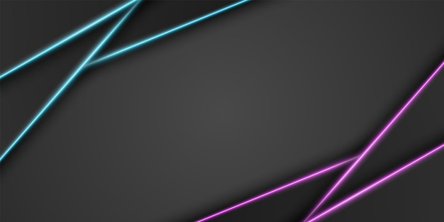 Abstract metallic black frame background triangular overlap layer with neon light line