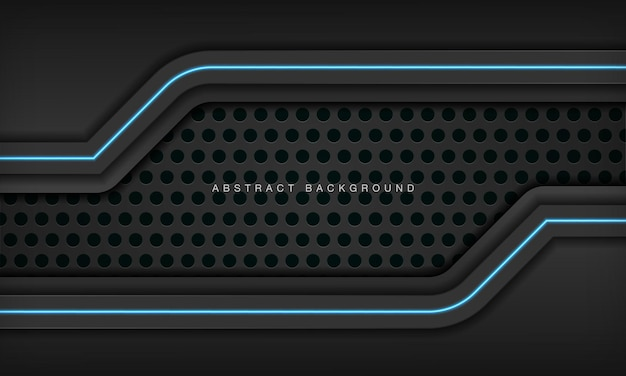 Abstract metallic black frame layout modern technology design template with blue light effect