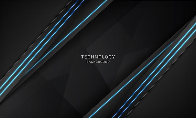 Abstract metallic black frame layout modern technology design template with blue light neon