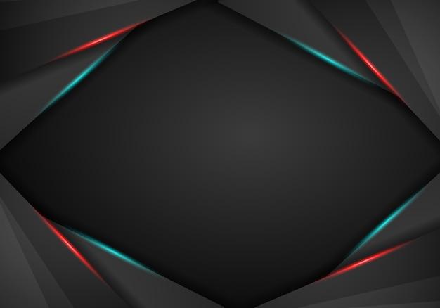 赤と青のフレームのメタリックブラックの抽象的な