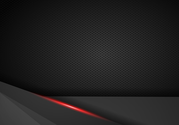 Abstract metallic black red frame sport design concept innovation background.