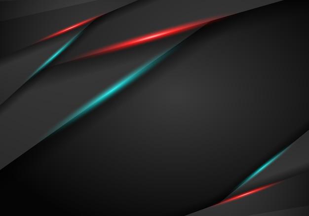 赤と青のフレームを持つメタリックブラックの抽象的な