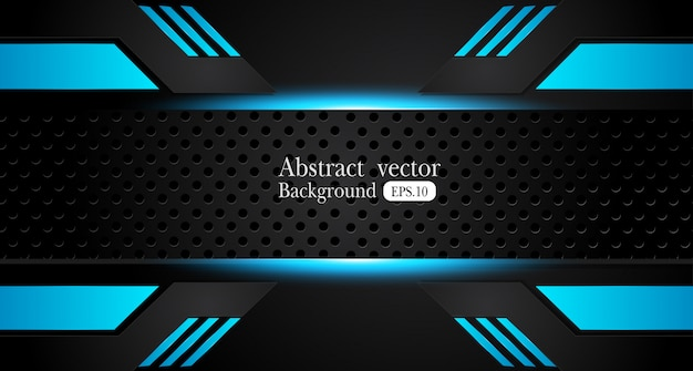Abstract metallic blue black frame