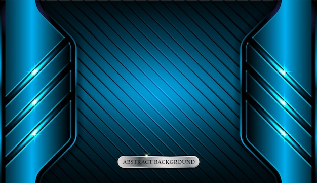 Abstract metallic blue geometric frame sport background