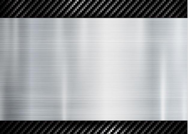 カーボンケブラーテクスチャパターン上の抽象的な金属フレーム