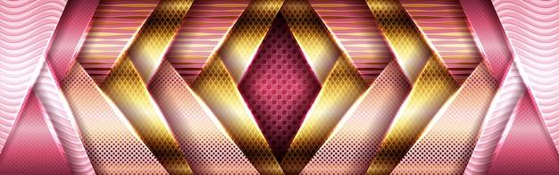 抽象的なメタリックゴールドデザインとピンクのフレームジオメトリモダンテック