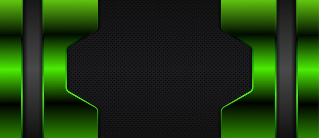 Abstract metallic overlap layers on dark space with green light effect decoration banner background