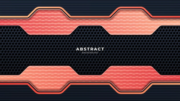 Abstract metallic perforated technology background with orange lines. black frame layout modern tech design template. trendy gradient shapes composition. eps 10 vector